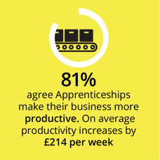 81% agree Apprenticeships make their business more productive. On average productivity increases by £214 per week