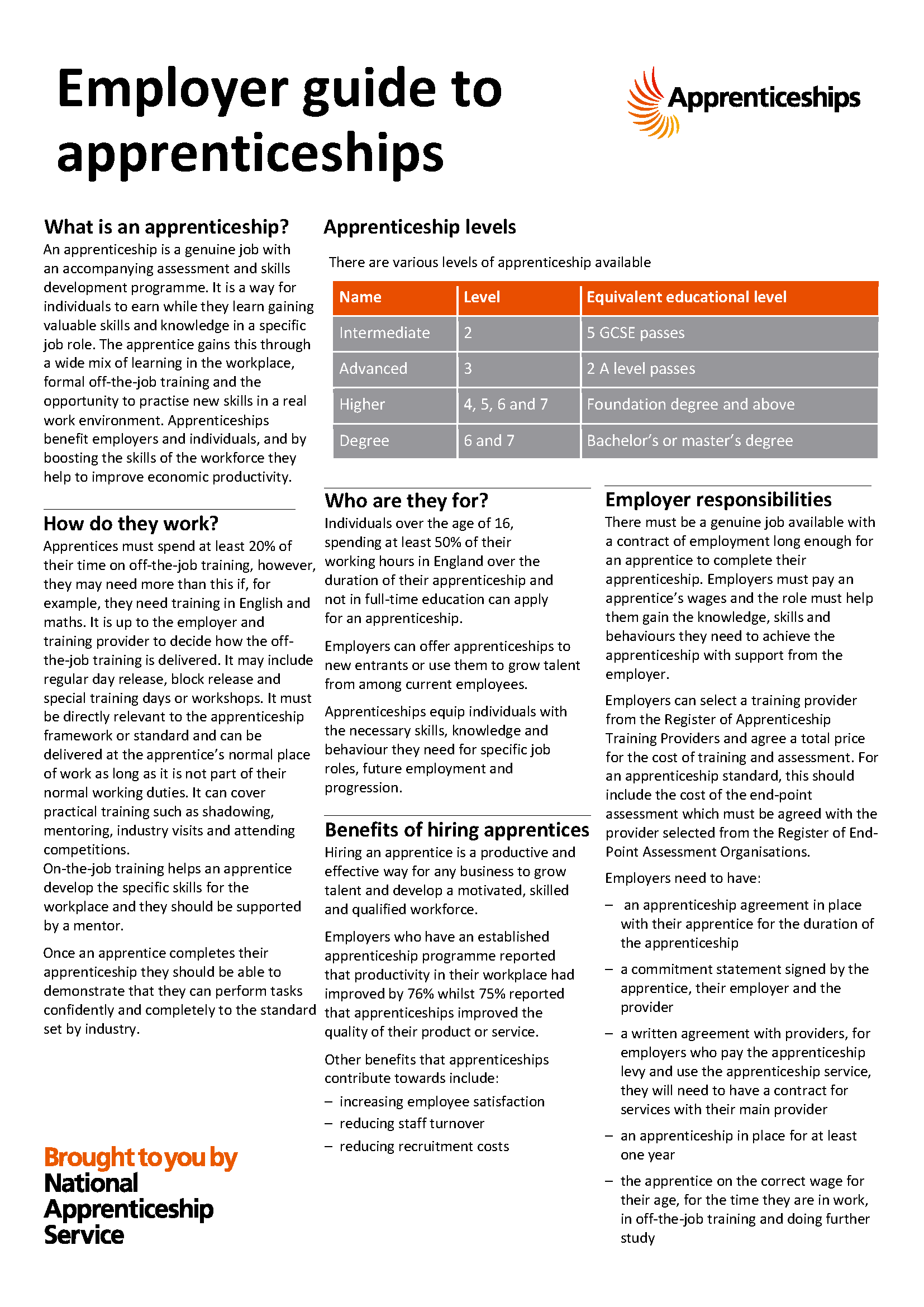 NAS Employer Guide to Apprenticeships